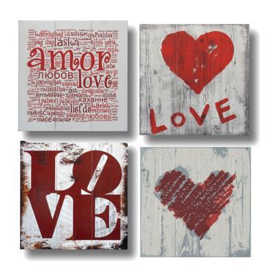 Pack 4 Pinturas en madera Love 30x30 cm