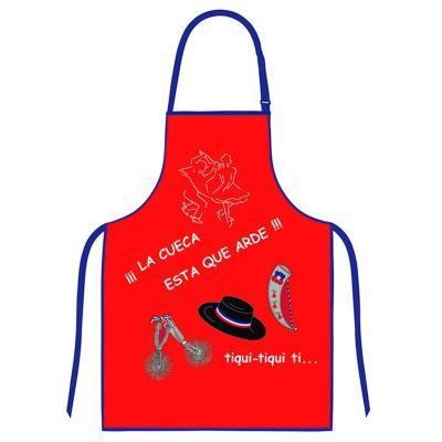 Delantal cocina diseño cueca rojo