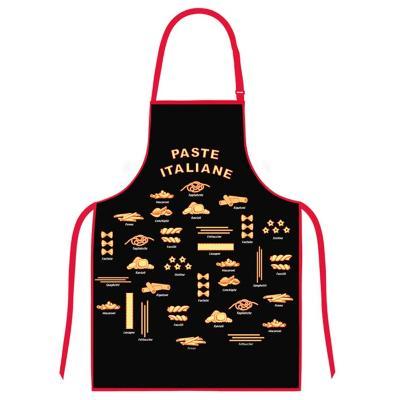 Delantal cocina diseño pasta negro