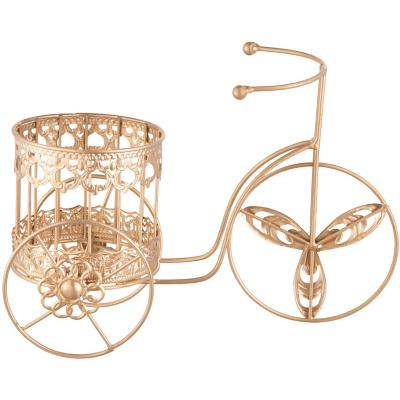 Porta maceta bicicleta metal color 22x14x32 cm dorado