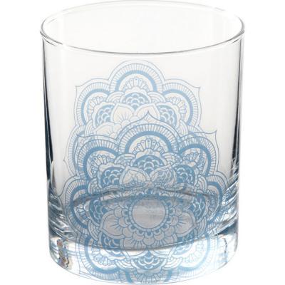 Vaso bajo vidrio 330 ml azul