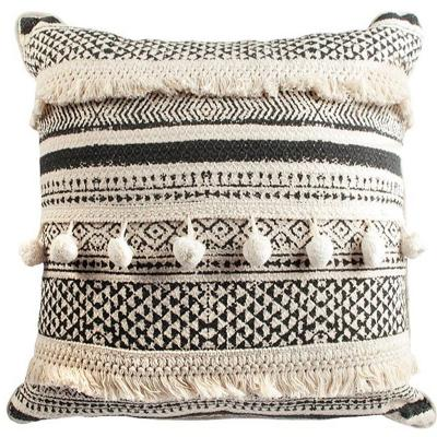Cojín boho crudo y negro algodón 45x45 cm
