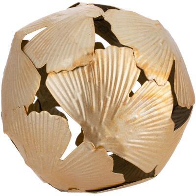 Esfera metal dorado diseño pétalos 10x10 cm
