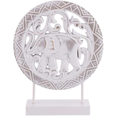 Totem madera diseño elefante color blanco 32x25x7 cm