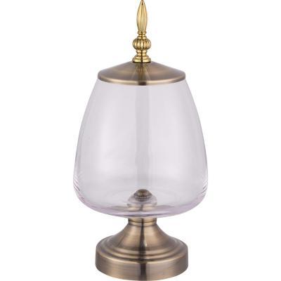 Jarrón vidrio con base y tapa metal diseño galia