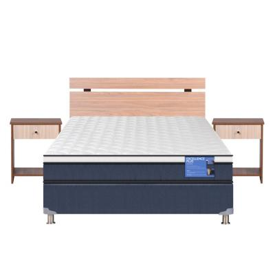Cama americana excellence plus 2 plazas base normal + muebles olmo