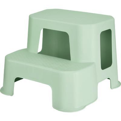 Taburete plástico 2 peldaños verde