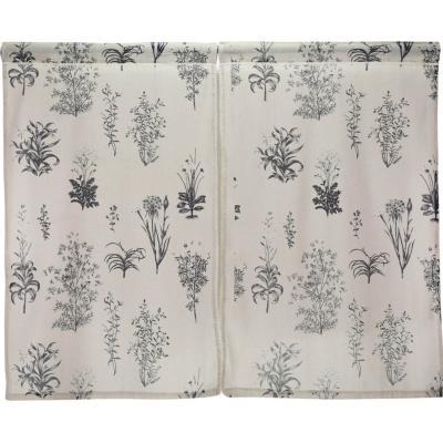 Cortina cocina flores acero 2 paños 70x115 cm