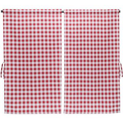Cortina cocina cuadrille rojo 2 paños 70x115 cm