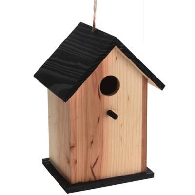 Casa pájaro natural/negro decorativo 22 cm