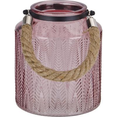 Portavela de vidrio con asa decorativo 16 cm color rosado