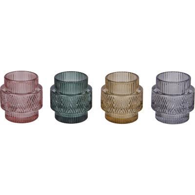 Portavela de vidrio color surtido 7,5 cm