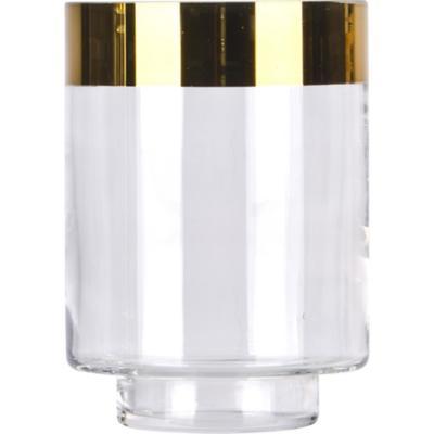 Portavela de vidrio borde dorado 14 cm