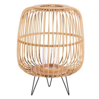 Portavela bambu 30x41 cm natura