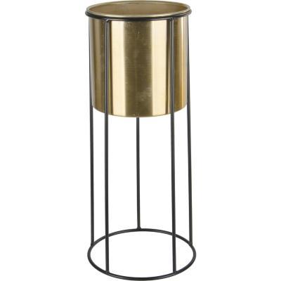 Macetero metálico con base color dorado 26x26x101 cm