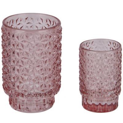 Portavela de vidrio texturado 9 cm color rosado