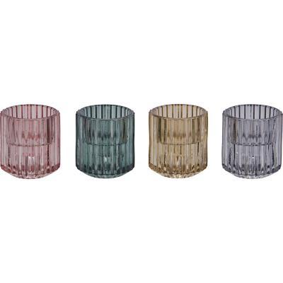 Portavela de vidrio 6 cm color surtido