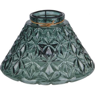 Portavela de vidrio texturado 16 cm color verde