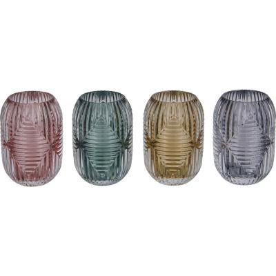 Portavela de vidrio diseño rombo color surtido 13 cm