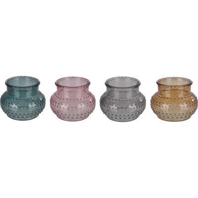 Portavela de vidrio diseño vasija color surtido 12 cm