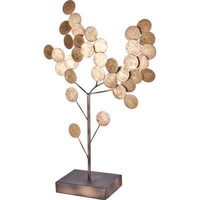 Totem decorativo metálico diseño árbol color cobre 47 cm