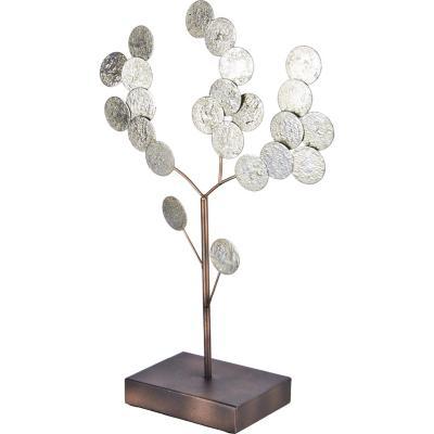 Totem decorativo metálico diseño árbol color plata 41 cm