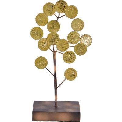 Totem decorativo metálico diseño árbol color dorado 32 cm