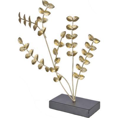 Totem decorativo metálico diseño ramas color dorado 41 cm
