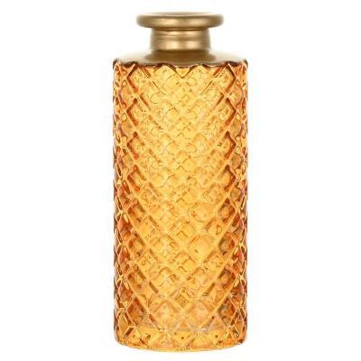 Botella decorativa color humo con borde dorado 13 cm