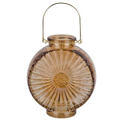 Jarrón de vidrio diseño flor color dorado 17 cm