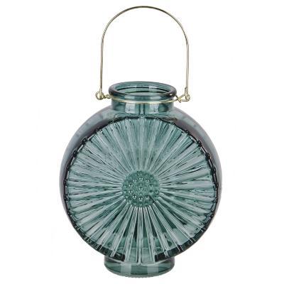Jarrón de vidrio diseño flor color verde 17 cm