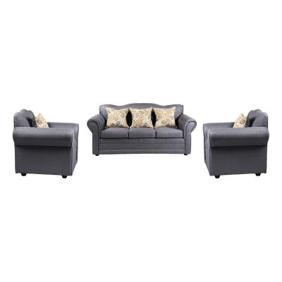 Juego de living sofá 3 cuerpos + 2 sillones gris claro
