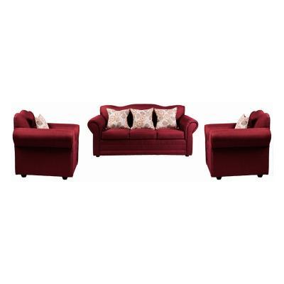 Juego de living sofá 3 cuerpos + 2 sillones burdeo