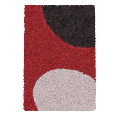 Alfombra shaggy Roma 50x90 cm círculos rojo