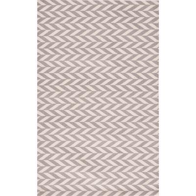 Bajada de cama dhurrie zigzag 50x80 cm gris