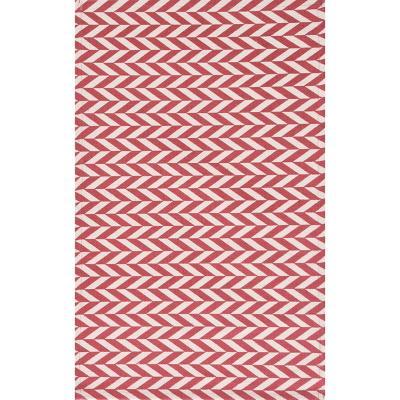 Bajada de cama dhurrie zigzag 50x80 cm rojo