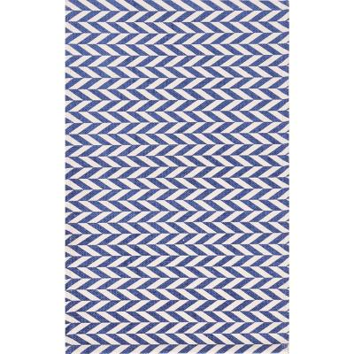 Bajada de cama dhurrie zigzag 50x80 cm azul