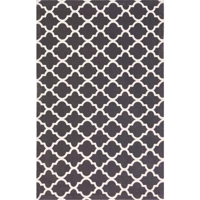 Bajada de cama dhurrie rombo 50x80 cm negro