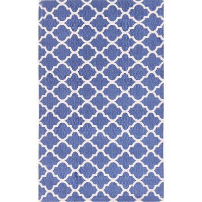 Bajada de cama dhurrie rombo 50x80 cm azul
