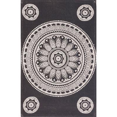 Bajada de cama dhurrie mandala 50x80 cm negro
