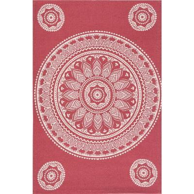 Bajada de cama dhurrie mandala 50x80 cm rojo