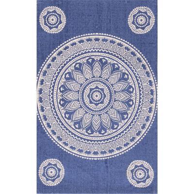 Bajada de cama dhurrie mandala 50x80 cm azul