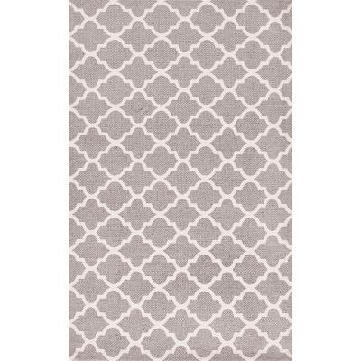 Bajada de cama dhurrie rombo 50x80 cm gris