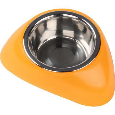 Plato para mascota 350 ml acero inoxidable naranjo