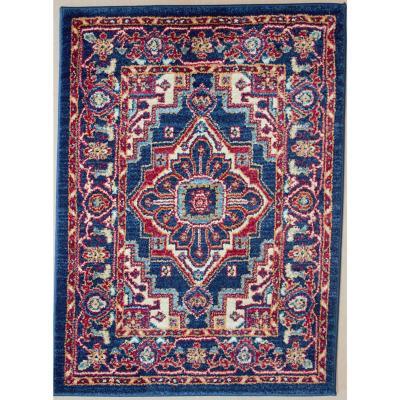 Bajada de cama oriental tebriz 60x85 cm azul