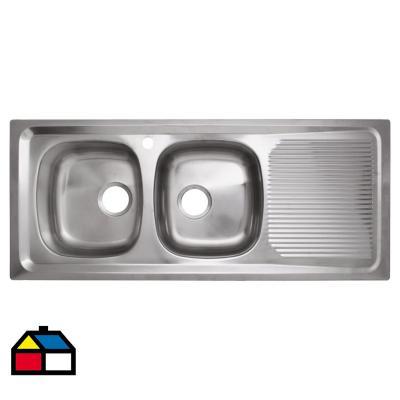 Lavaplatos 121,5x51x15 cm 2 cubetas acero inoxidable