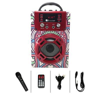 Parlante mini karaoke mandala rojo