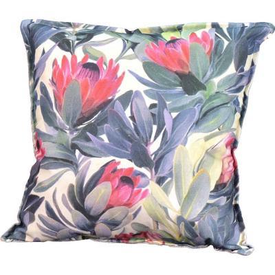 Cojín jardín de proteas verde/rosa 45x45 cm