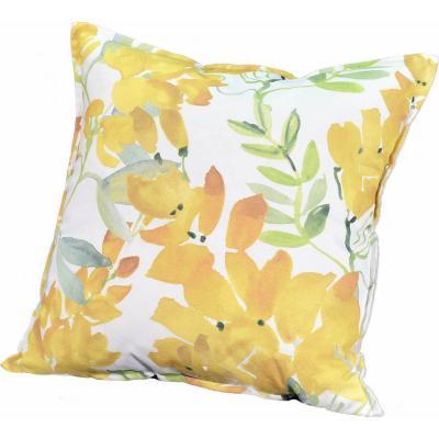 Cojín flores acuarela amarillo 45x45 cm