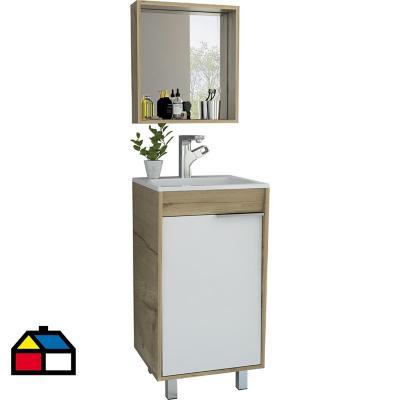 Espejo mueble lavamanos piso carter 45 - duna blanco